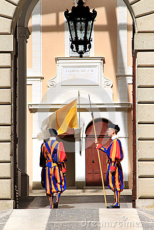 Swiss Guards near summer residence of Pope, Castel Gandolfo Editorial Photo