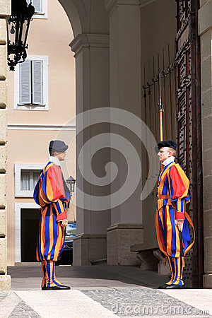 Swiss Guards near summer residence of Pope, Italy Editorial Stock Photo