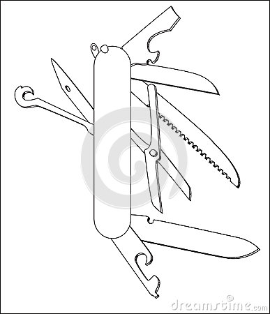 Swiss Knife Vector Line Art Stock Illustration Image