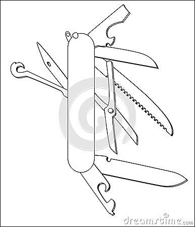 Swiss Knife Vector Line Art Stock Illustration Image