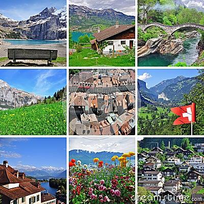 Swiss landscape - collage