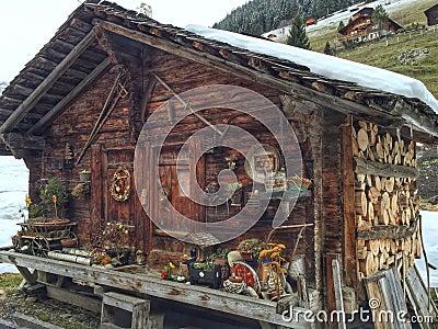 Swiss log cabin Stock Photo