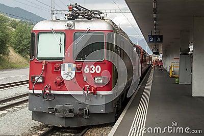 Swiss narrow railway rhb Editorial Photography