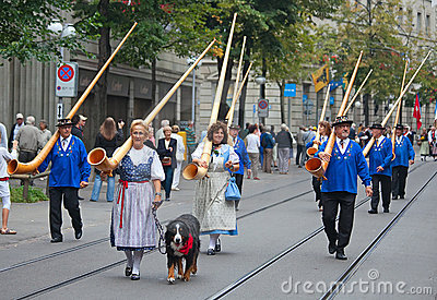 Swiss National Day parade in Zurich Editorial Stock Image