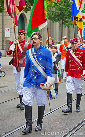 Swiss National Day parade in Zurich Editorial Photo