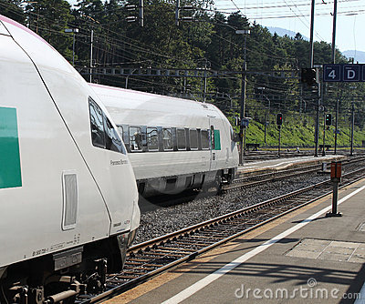 Swiss Pendolino Trains At Arth-Goldau Royalty Free Stock Photos - Image: 21381268