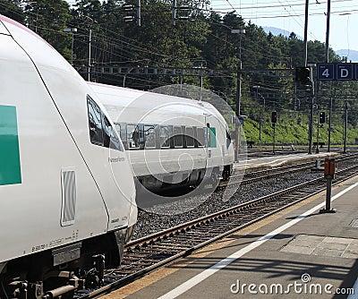 Swiss pendolino trains at Arth-Goldau Editorial Stock Photo