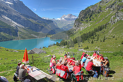 Swiss picnic - Bernese Oberland, Switzerland Editorial Photography