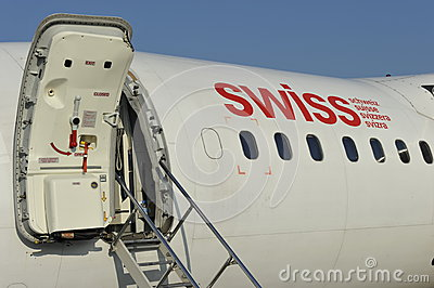 Swiss Plane with door open at the Airport Zürich Switzerland. & Swiss Plane With Open Door Editorial Image - Image: 38905405 Pezcame.Com