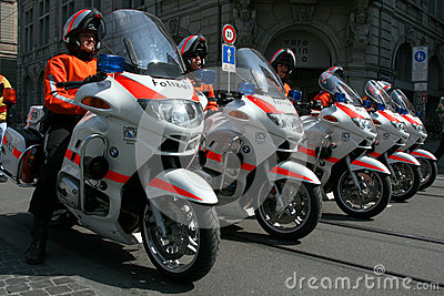 Swiss police on motorcycles Editorial Stock Photo