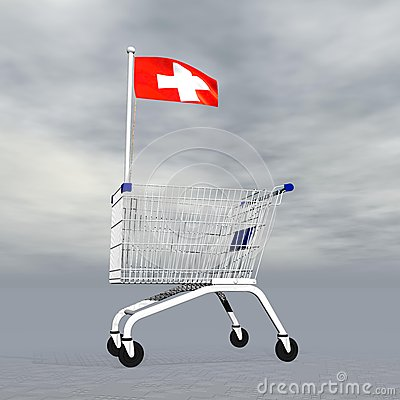 Swiss shopping - 3D render