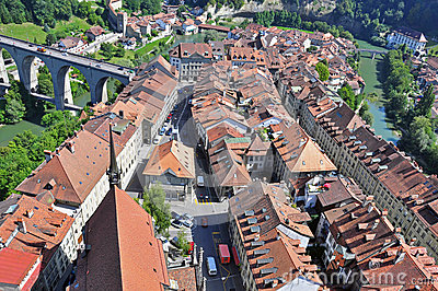 Swiss town s roof and viaduct