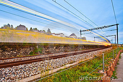 Swiss Train Light Trails