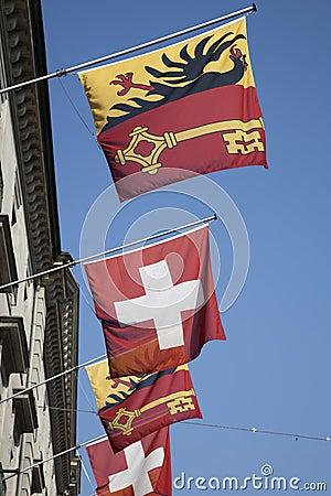 Swiss and Vaud Flags, Geneva