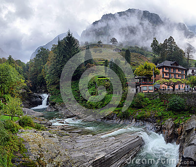 Swiss village in the mountains