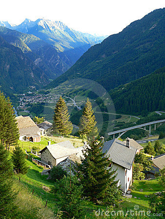 Swiss village in valley