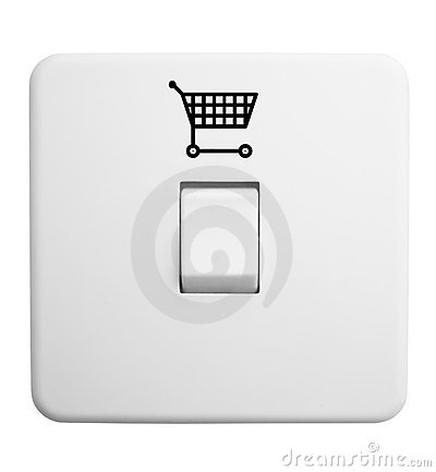 switch with shopping trolley symbol