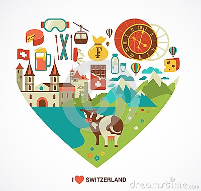 Free Switzerland Love - Heart With Vector Icons Royalty Free Stock Photography - 43136687