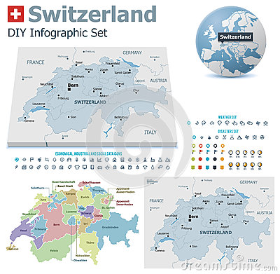 Free Switzerland Maps With Markers Stock Photos - 32862943