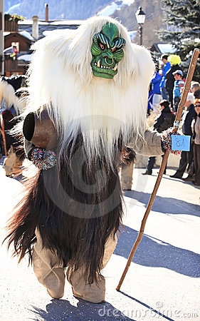 SWITZERLAND - MARCH 05: Performer dressed in a tra Editorial Image