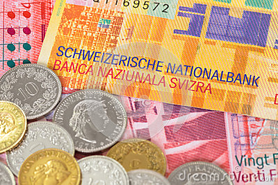 Switzerland money swiss franc banknote and coins