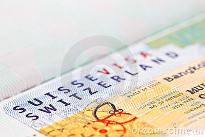 Switzerland VISA on passport