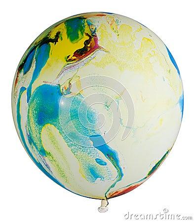 Swollen multicolored balloon