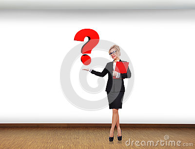 Swoman holding question