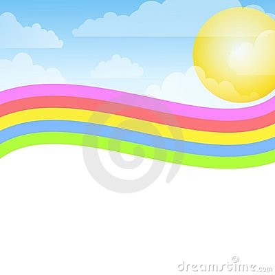 Swoosh Rainbow Blue Sky Background