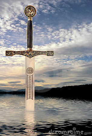Free Sword In The Lake Stock Image - 8343431