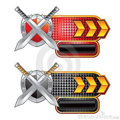 Swords and shield on red and black checkered ads