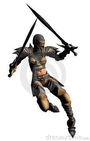 Swordswoman Leaps