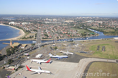 Sydney airport and surrounding suburbs, Australia Editorial Image
