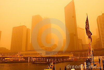 Sydney, Australia, covered in extreme dust storm. Editorial Stock Image