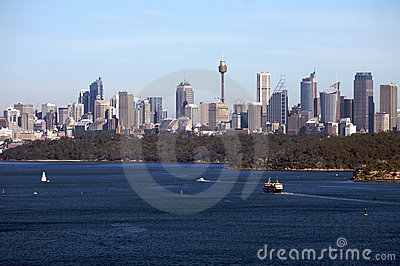 Sydney Australia view with city skyline, harbour