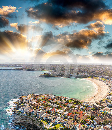 Free Sydney Bondi Beach. Sunset Aerial View From Helicopter Royalty Free Stock Photography - 69349777