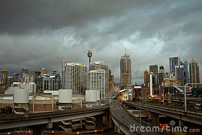 Sydney city, Australia, with storm clouds. Editorial Photo