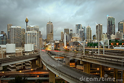 Sydney city, Australia, with storm clouds. Editorial Photography