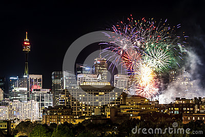Sydney City Scape Fireworks Editorial Stock Photo