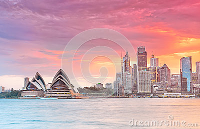 Sydney Harbor and Opera House at dusk Editorial Stock Photo