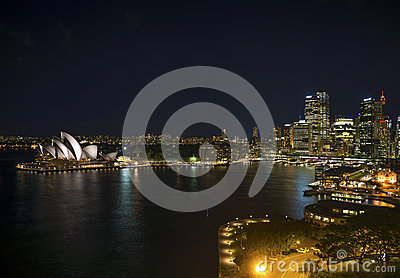 Sydney harbour in australia by night Editorial Photography