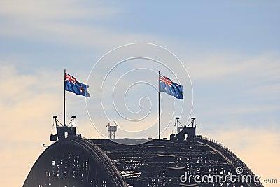 Sydney Harbour Bridge crest with flags