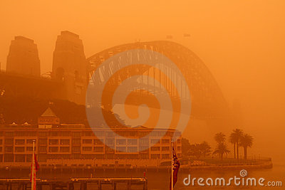 Sydney Harbour Bridge during extreme dust storm. Editorial Image