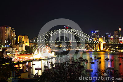Sydney city at harbor by night Editorial Photo