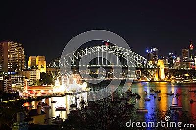 Vibrant city Sydney at Harbour Bridge by night Editorial Photo