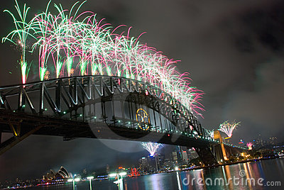 Sydney Harbour Bridge New Year Editorial Stock Image
