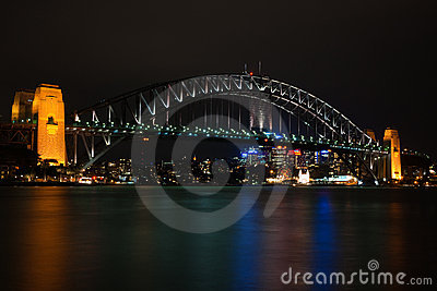Sydney Harbour Bridge by night Editorial Photography