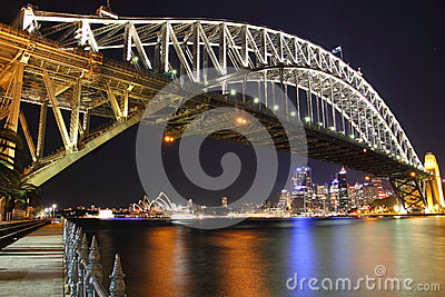 Sydney Harbour Bridge vibrant scenery by night Editorial Stock Image