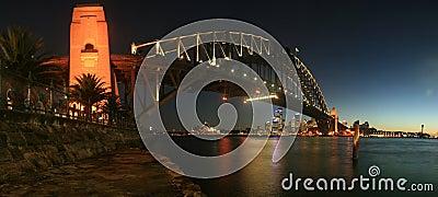 Sydney Harbour Bridge At Night Panorama Editorial Image