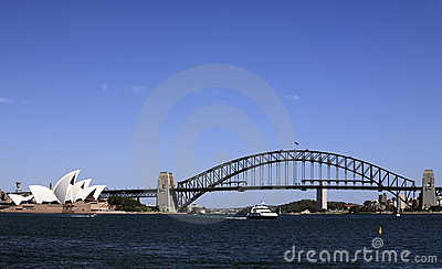 Sydney Harbour Bridge and Opera House Editorial Stock Photo